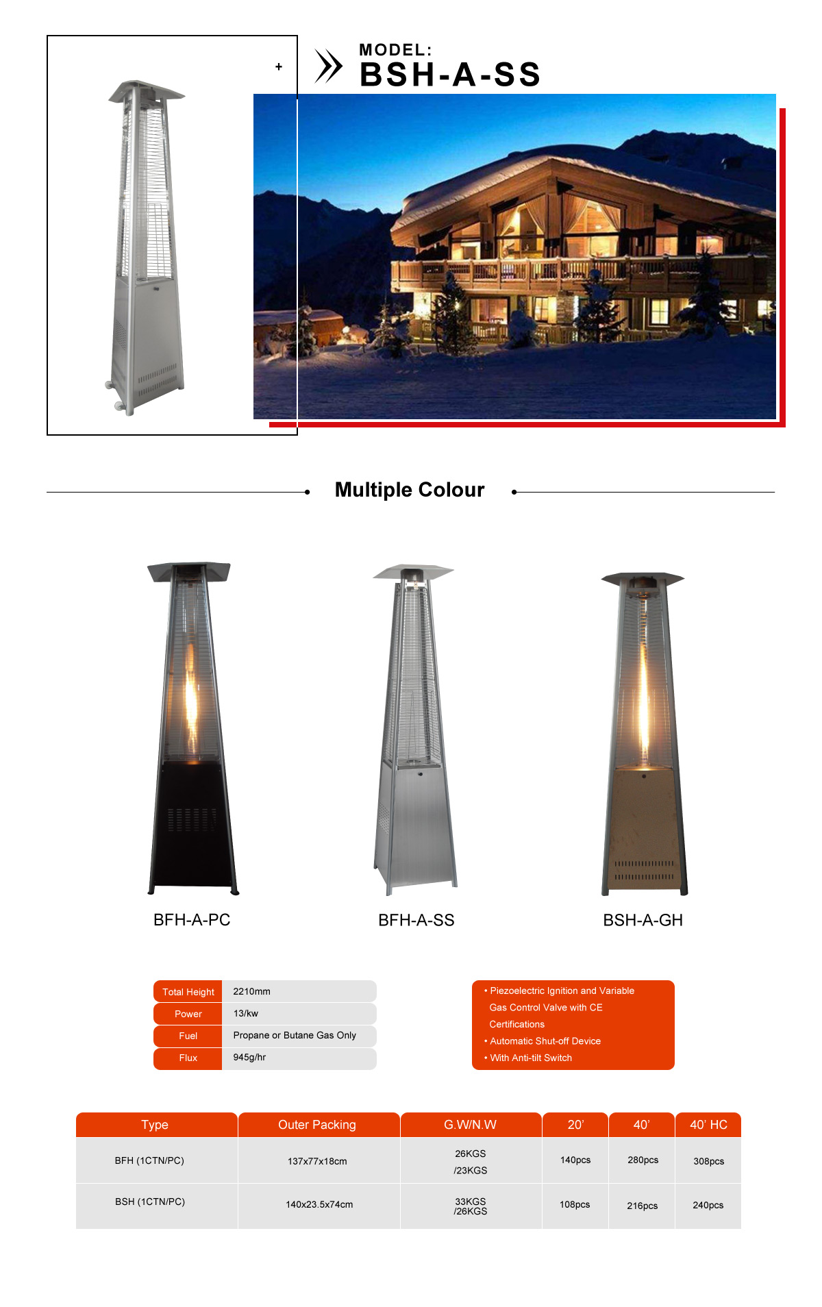 Bsh A Ss Portable Patio Heater Gardensun
