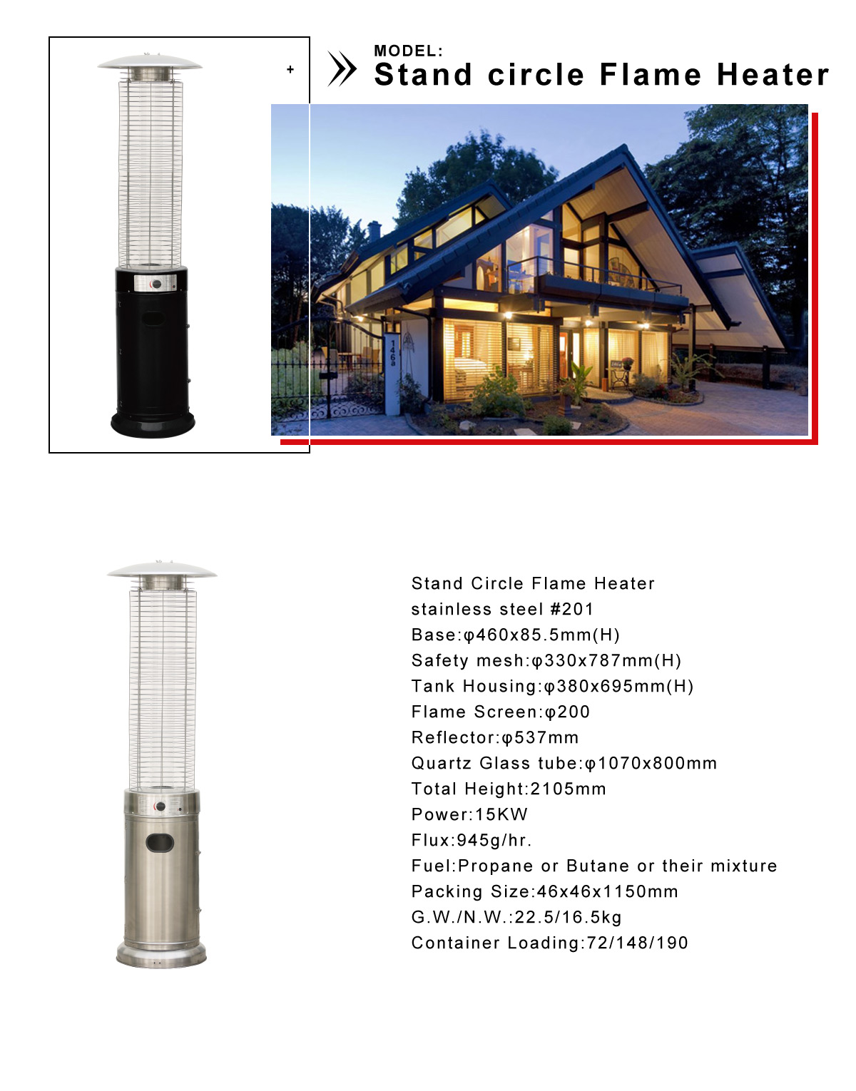 Stand Circle Flame Heater Portable Patio Heater Gardensun