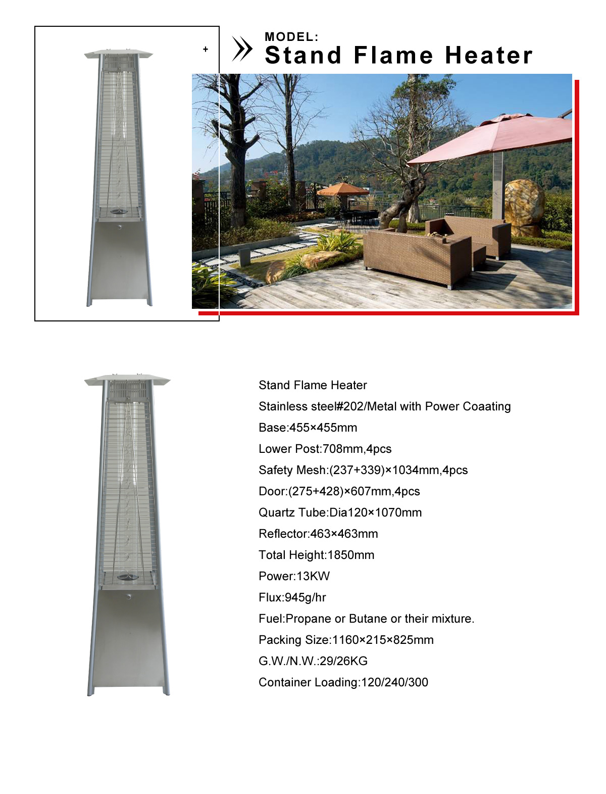 Stand Flame Heater Portable Patio Heater Gardensun